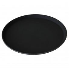 Поднос за Сервиране, Против Подхлъзване, Кръгъл, ABS, Черен, ∅36см