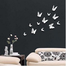 WS1009 Walplus 12pcs 3D Butterflies in White Дом и Офис