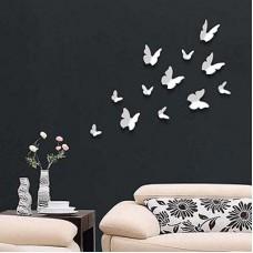 Бели Пеперуди 3D WALPLUS, WS1009, Стикер за Стена, 12 броя
