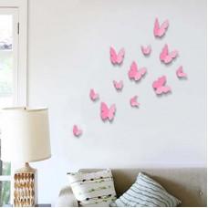 Розови Пеперуди 3D WALPLUS, WS1010, Стикер за Стена, 12 броя