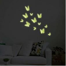 Флуоресцентни Пеперуди 3D WALPLUS, WS1014, Стикер за Стена, 12 броя