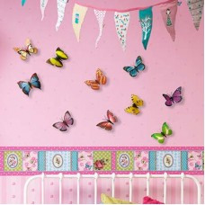 WS1021 - Walplus 10pcs Shining 3D Colourful Butterflies Дом и Офис