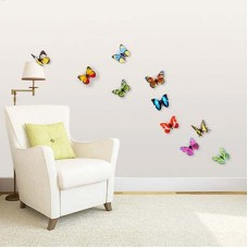 WS1022 - Walplus 10pcs Shining 3D Colourful Butterflies Дом и Офис