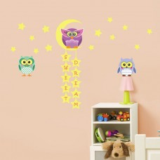 WS3026 - Owl Moon Stars Glow in Dark Детски Стикери