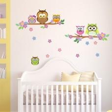 WS3027 - Owl Flowers Trees Детски Стикери