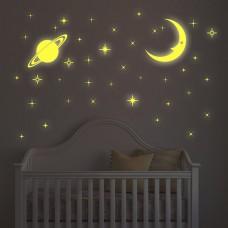 Светеща Луна и Звезди WALPLUS, WS3036, Стикер за Стена, 100х70см