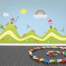 Щастливи Хълмове WALPLUS, WS4023, Стикер за Стена, 90х80см