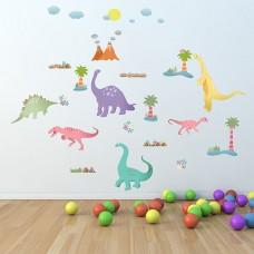 Щастливи Динозаври WALPLUS, WS5039, Стикер за Стена, 30х63см