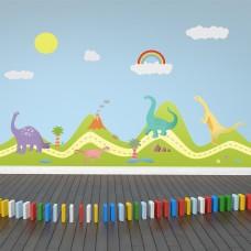 Хълмове и Щастливи Динозаври WALPLUS, WS9051, Стикер за Стена, 180х120см