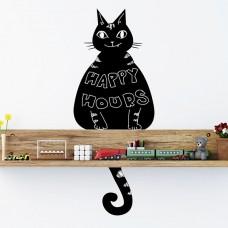 Котка Черна Дъска WALPLUS, WSB2002, Стикер за Стена, 26х58см